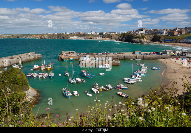 View over the harbour, Newquay, Cornwall, England - Stock Image