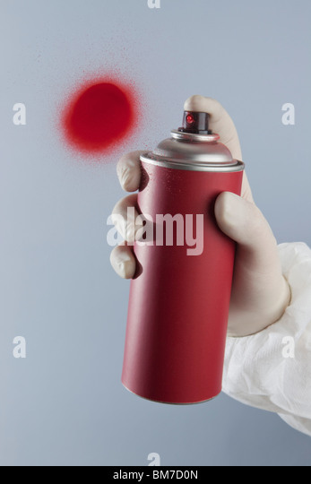 Detail of a hand spray painting - Stock Image