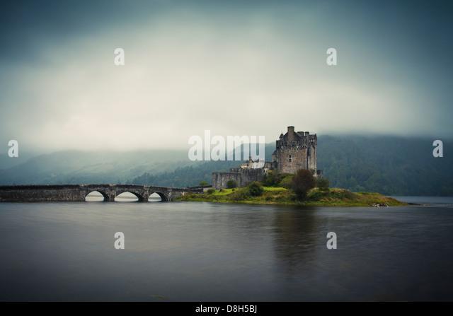 Eilean Donan Castle in the evening, Highlands, Scotland, United Kingdom - Stock-Bilder