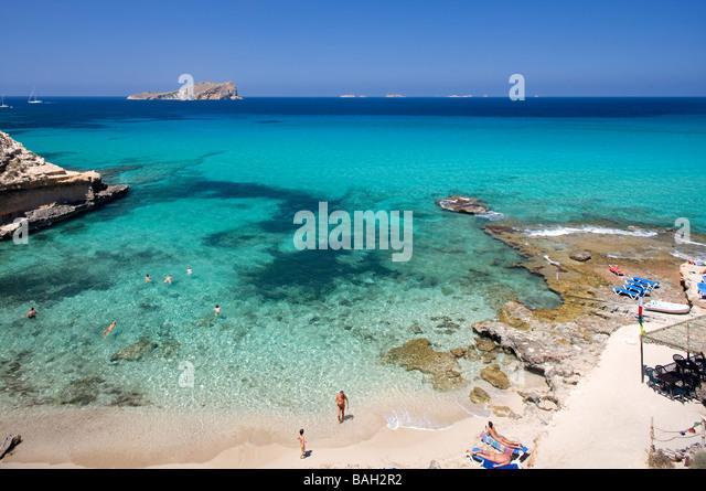 Spain, Balearic Islands, Ibiza island, Cala Comte - Stock Image