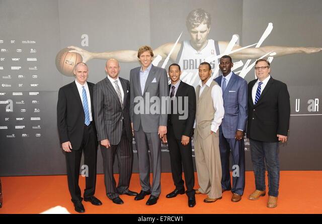 Cologne, Germany. 16th Sep, 2014. NBA coach Rick Carlisle (L-R), NBA player Brian Cardinal, Dirk Nowitzki, Devin - Stock Image