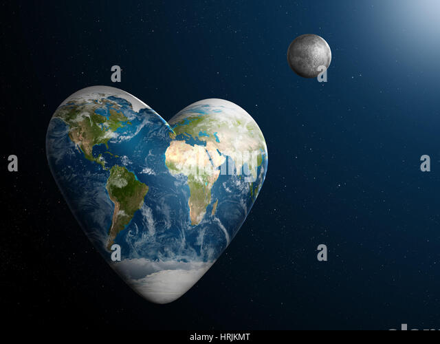 Valentine's Day, Heart-Shaped Earth - Stock Image