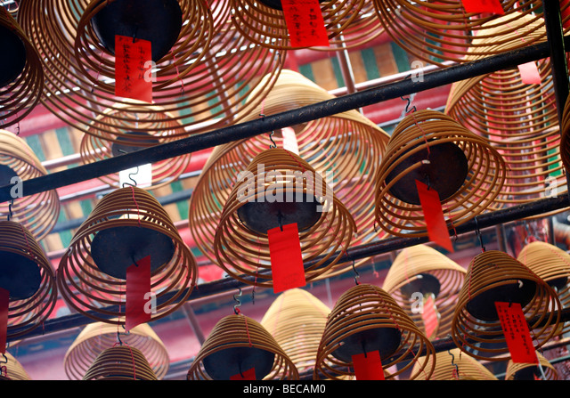 Interior view of the Man Mo Temple, Hong Kong, Hongkong, China, Asia - Stock Image