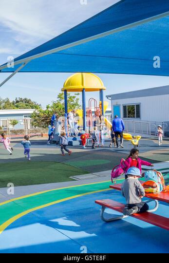 Preschool play yard in San Diego, California - Stock Image