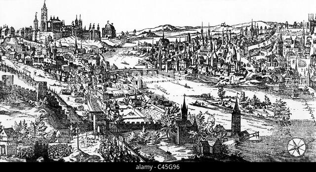 View of Prague, 17 Century - Stock Image