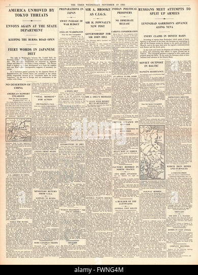 1941 page 4 The Times Re-shuffle in high command of the British Army and Battle for Moscow - Stock Image