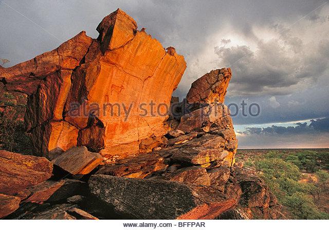 Rock paintings, Tsodilo Hills, Botswana - Stock-Bilder