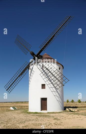 Windmills Of La Mancha; Mota Del Cuervo Cuenca Province Castilla La Mancha Spain - Stock Image