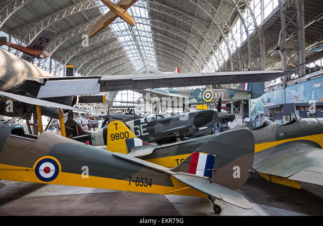 Aviation hall with military airplanes at the Royal Museum of the Army and of Military History in Brussels, Belgium - Stock Image