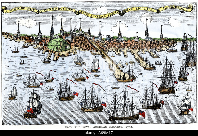 British warships in Boston harbor 1774 in an attempt to control the angry colonists - Stock Image