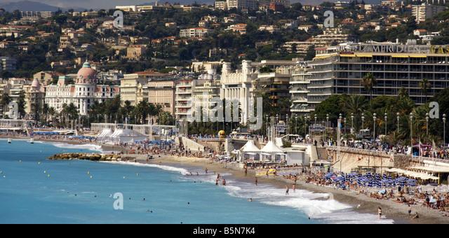 France Nice Promenade des Anglais beach Meridian Casino Hotel Negrecso - Stock Image