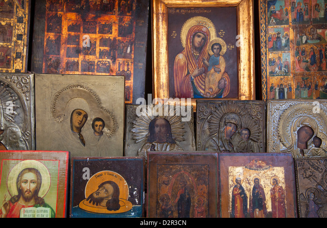 Russian icon paintings for sale, St. Petersburg, Russia, Europe - Stock-Bilder