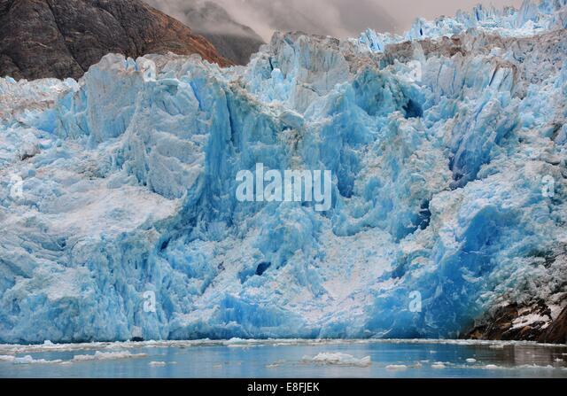 USA, Alaska, Tongass National Forest, Blue Ice of South Sawyer Glacier - Stock Image