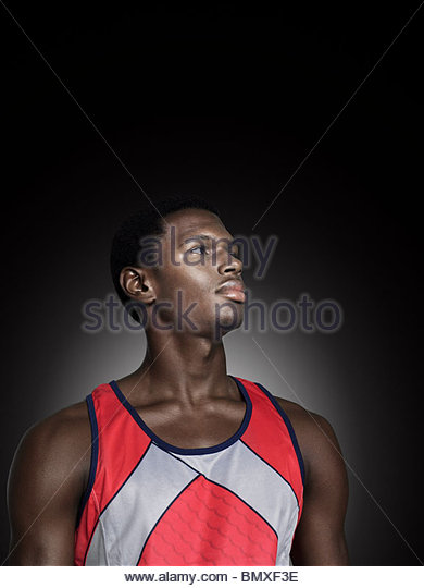 Portrait of a male athlete - Stock Image