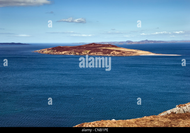 Gruinard island, or anthrax island as it is also known, taken from the coastal A832 road in Wester Ross, Scotland - Stock Image