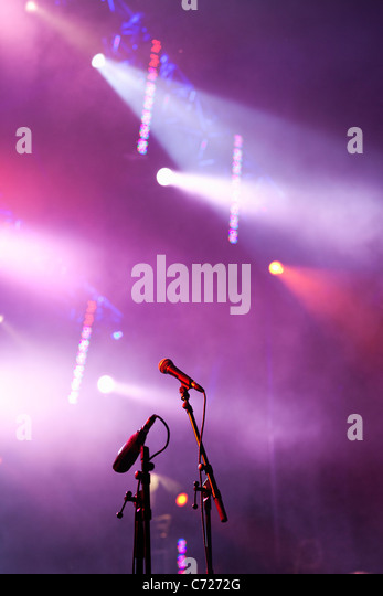 Canada,Quebec,Montreal, Montreal Jazz Festival, microphones and stage lights - Stock Image