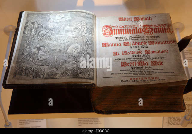 A copy of the first printed edition of an Estonian language bible displayed in Tallinn, Estonia. - Stock Image