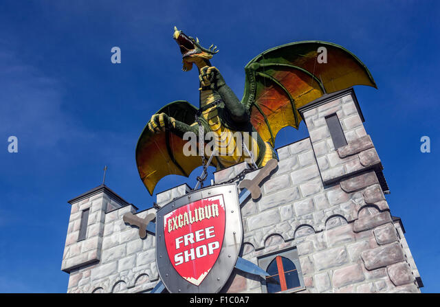 Shopping and entertainment center Excalibur City of Hate, near Znojmo, Czech and Austrian borders - Stock Image