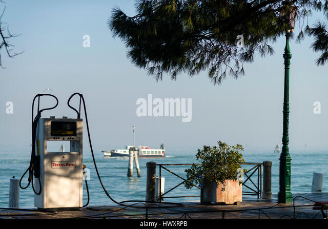 Gas station for boats in Venice, Italy - Stock-Bilder