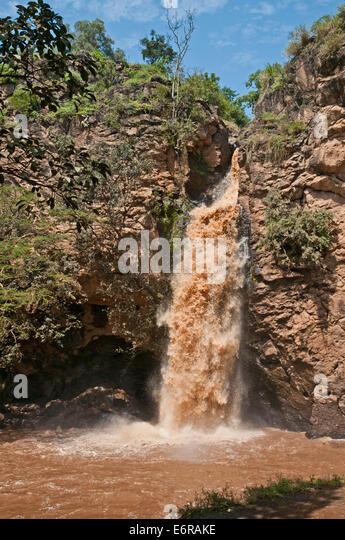 Makalia Falls waterfall Lake Nakuru National Park Kenya East Africa - Stock Image
