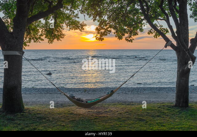 Hammock in Sunset - Stock Image