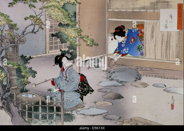 Entrance to the Tea Rooms' by Mizuno Toshikata (1866-1908). Japanese. - Stock Image
