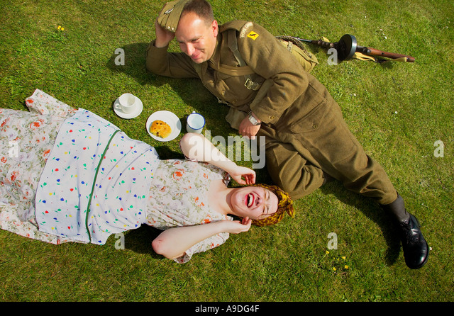 People dressed in 1940s clothing at Pendennis Castle in Falmouth Cornwall UK - Stock Image