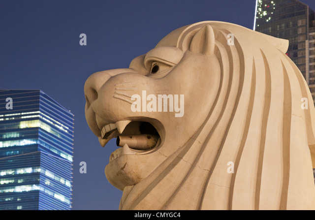 Singapore, Merlion Statue - Stock Image