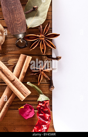 Image space of paper with cooking spices - Stock Image