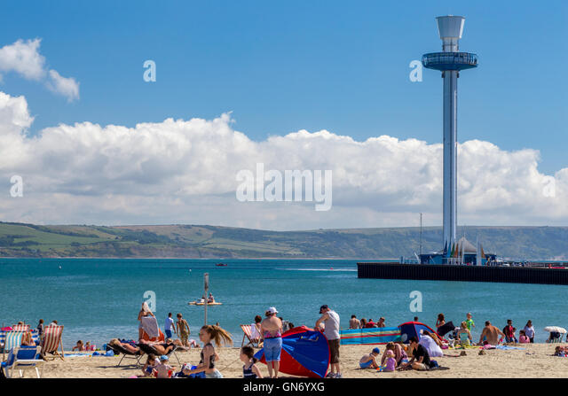 Weymouth Jurassic Skyline viewing tower and beach, Dorset - Stock Image