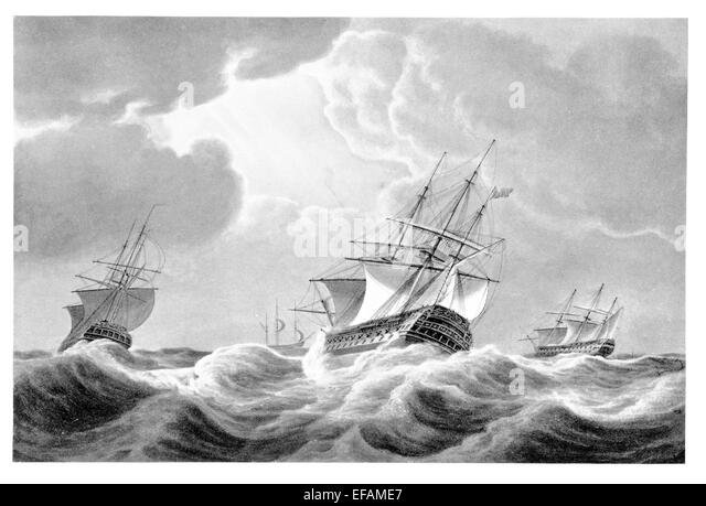 Squadron at sea in heavy weather 1798 64 74 two decker and frigate - Stock Image