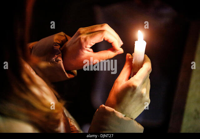 San Francisco, California, USA. 27th Nov, 2013. Several hundred people crowd the Castro neighborhood during a candlelight - Stock Image