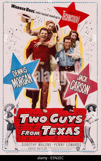 TWO GUYS FROM TEXAS, US poster art, from left: Jack Carson, Penny Edwards, Dennis Morgan, Dorothy Malone, 1948 - Stock Image
