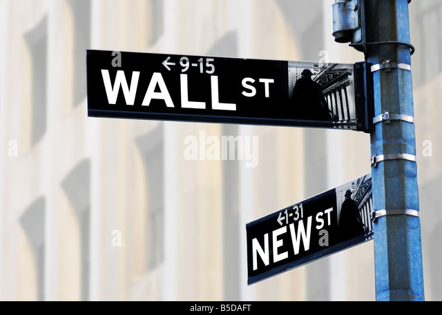 Wall Street Sign, NYC, light abstract building background - Stock Image