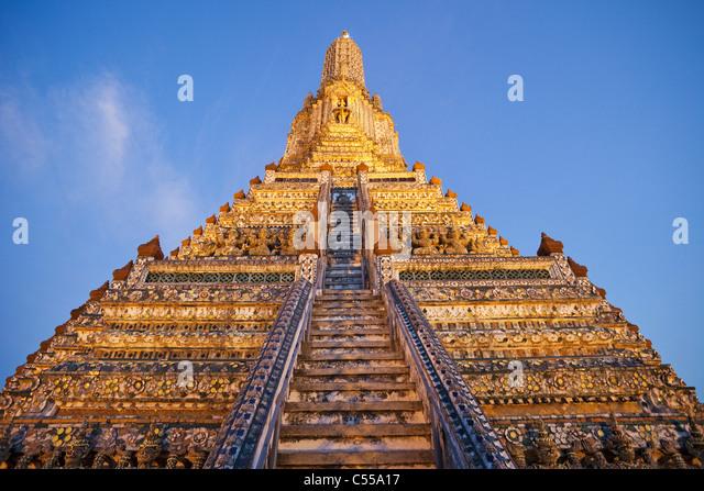 Low angle view of a temple, Wat Arun, Bangkok, Thailand - Stock Image