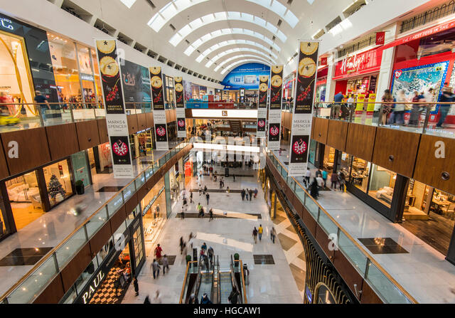Interior view of Dubai Mall, the largest mall in the world by total area, Dubai, United Arab Emirates - Stock Image