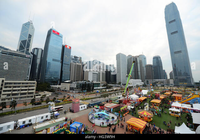Beautiful cityscapes as seen from a high carousel at the AIA great European Carnival in Hong Kong. - Stock Image