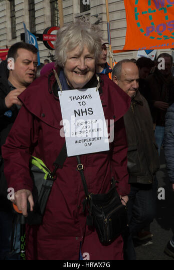 London, UK. 4th Mar, 2017. National demonstration to defend the NHS A Old lady on the march Credit: Brian Southam/Alamy - Stock Image