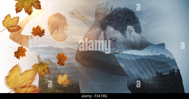 Composite image of depressed woman with hands raised - Stock Image