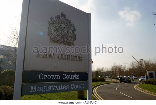 Sign for Crown Courts Magistrates Court next to Belmarsh Prison Kent UK - Stock Image