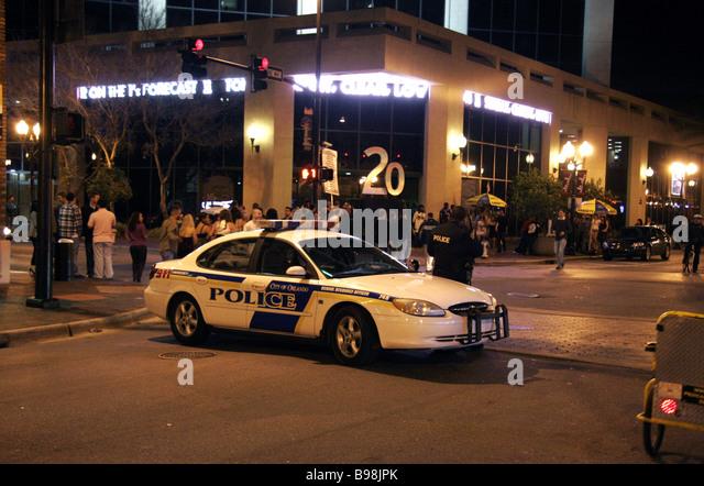 City of Orlando police car in downtown Orlando Florida at night - Stock Image