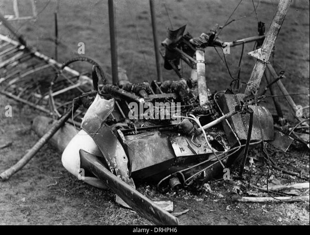 Debris of crashed German plane, Chelles, France, WW1 - Stock Image