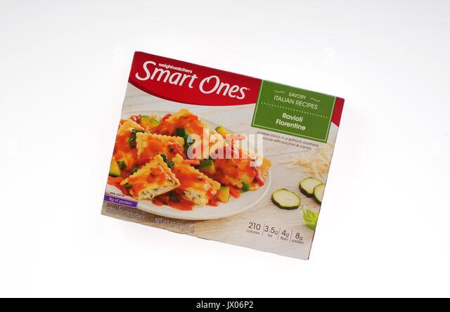 Unopened Box of Weight Watchers Smart Ones Savory Italian Recipes frozen ravioli florentine entree on white background. - Stock Image
