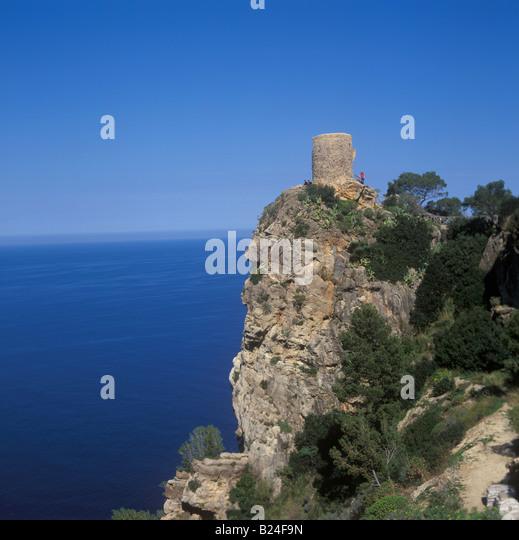 Scene at Mirador de Ses Animes at Punta Verger near Banyalbufar West Coast Mallorca Balearic Islands Spain 9th March - Stock Image