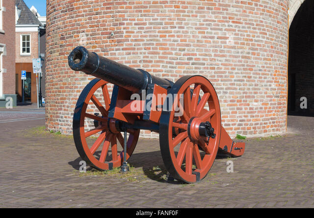 closeup of an old medieval cannon in zwolle, netherlands - Stock Image