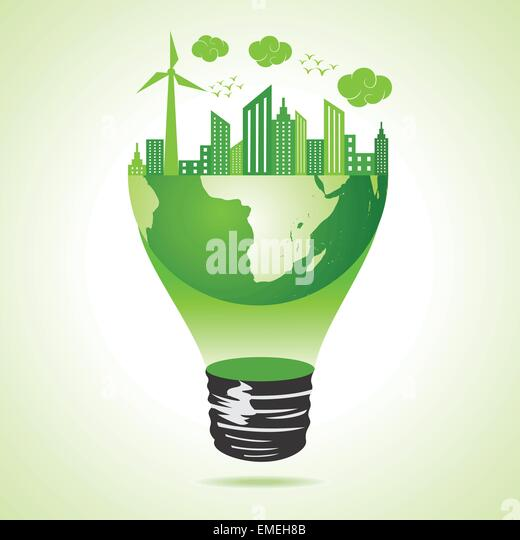 Eco earth concept with green cityscape - Stock Image