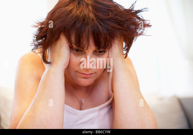 Depressed Overweight Woman - Stock Image