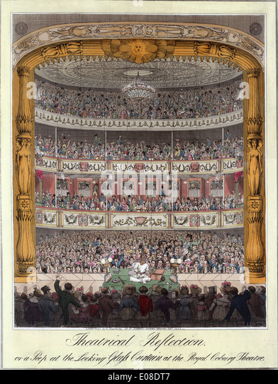 Historic print of Royal Coburg Theatre, The Old Vic theatre, London, England, UK - Stock Image