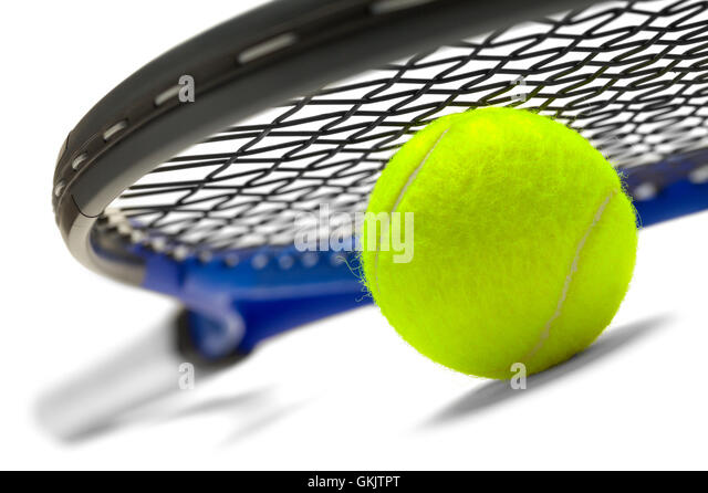Blue and Black Tennis Racket with Green Ball Isolated on White Background. - Stock Image