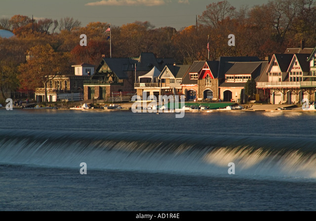 Boat House Row Philadelphia PA Fall waterfall United States - Stock Image